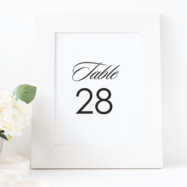 Classic Wedding Table Numbers Printable Table Numbers image 0