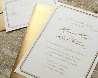Gold Wedding Invitation PDF or Simple Wedding Invite for Formal Wedding, Traditional Wedding, Catholic Wedding, or Black Tie PRINTABLE
