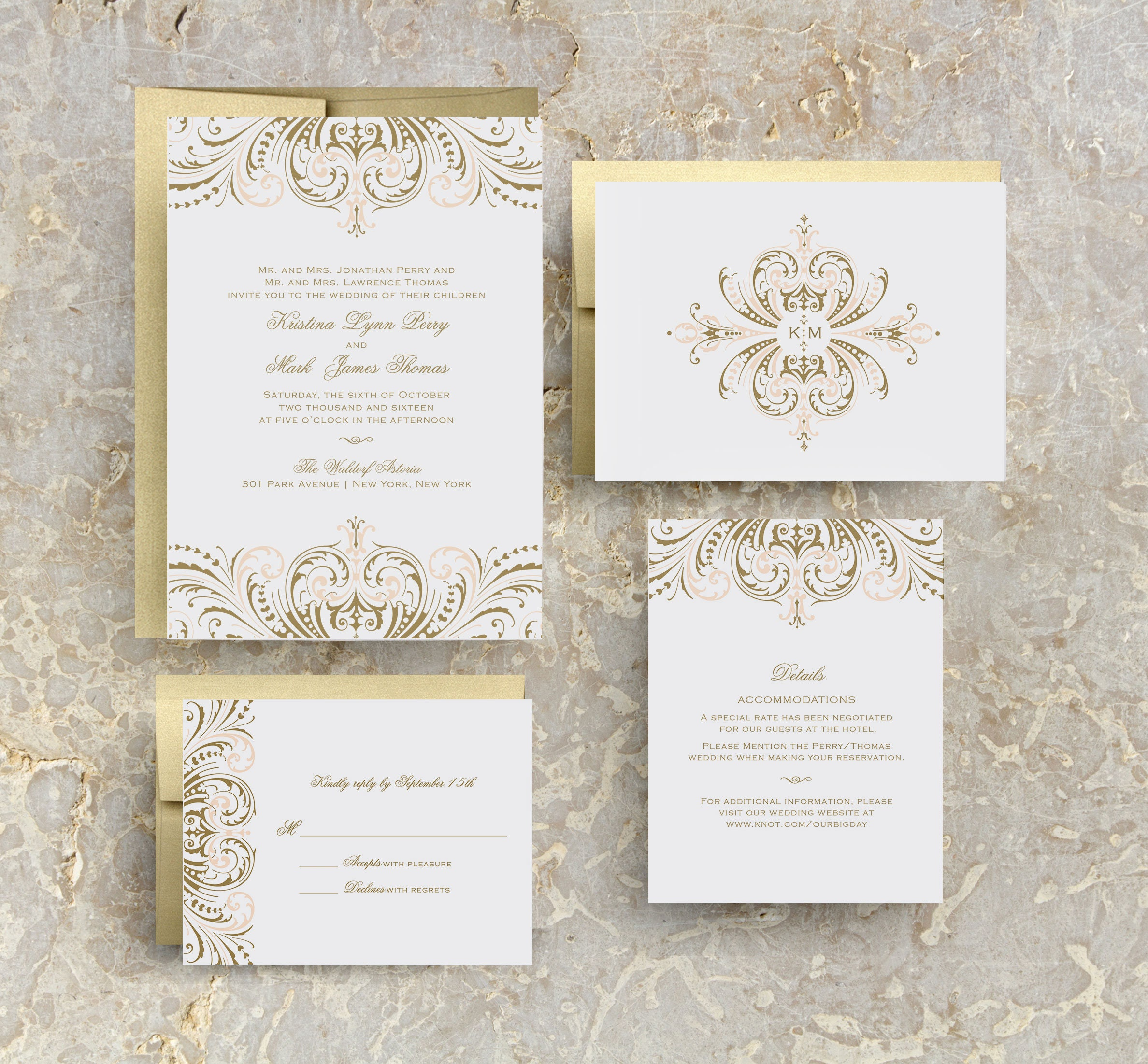 Blush Pink And Gold Wedding Invitations Diy Wedding Etsy