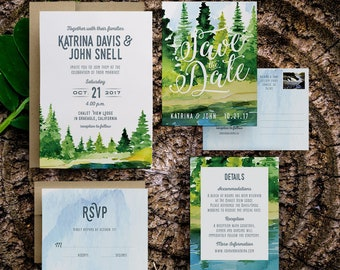 wedding weekend invitation, watercolor rustic wedding invitation, rustic mountain wedding invitations, woodland wedding invitation, printed