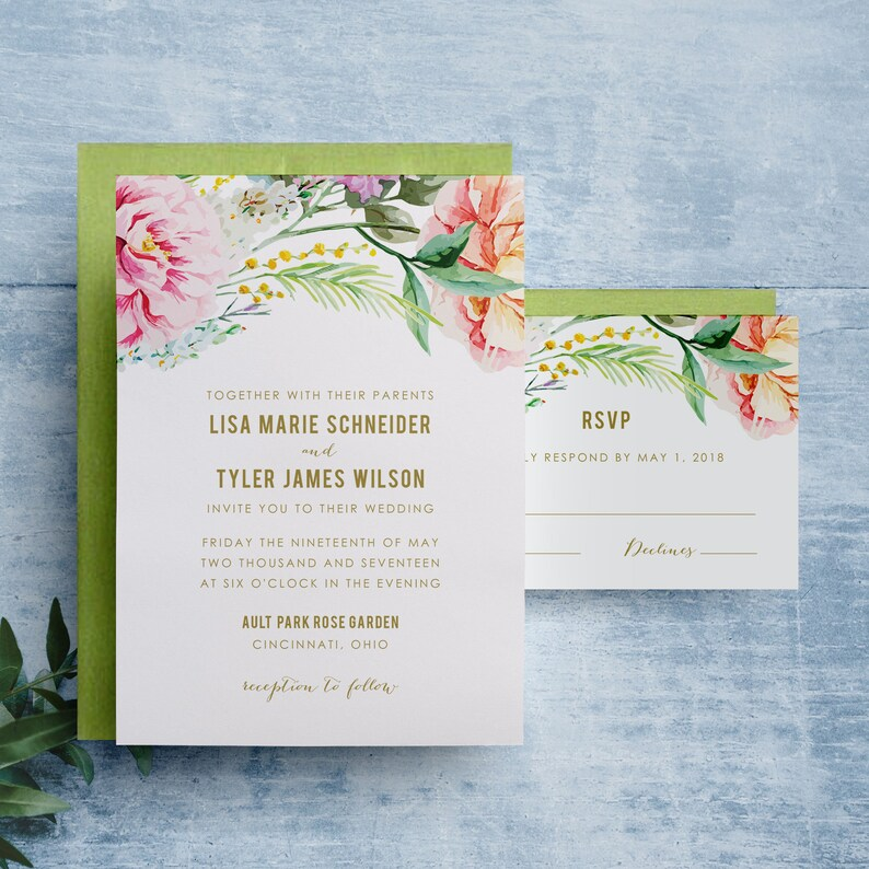Floral Wedding Invitation Watercolor Flowers Invitation image 0