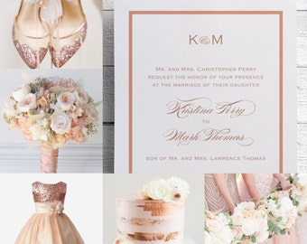 Rose Gold Wedding Invitations, Rose Gold Invitation, Elegant Wedding Invitations, Pink Wedding, Pink Invitations, Formal Invitation