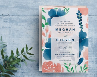watercolor floral wedding invitations, boho floral wedding invitation, spring floral wedding invitation, bohemian wedding invitation