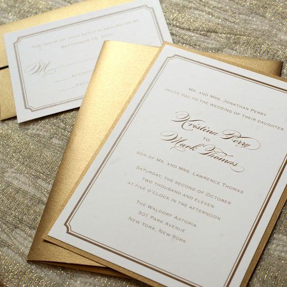 Simple Wedding Invitations: Gold Wedding Invitation Printable Gold Foil Wedding