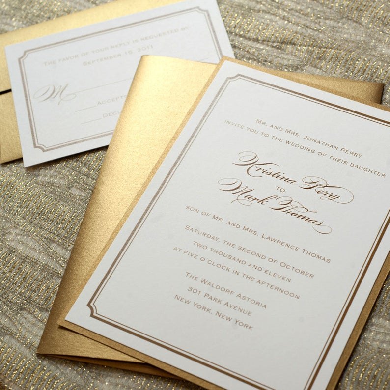 photograph regarding Etsy Wedding Invitations Printable known as Gold Marriage Invitation Printable, Gold Foil Marriage ceremony Invitation, Gold Wedding ceremony Invitation PDF, Gold Wedding day Invite, Clic Invitation
