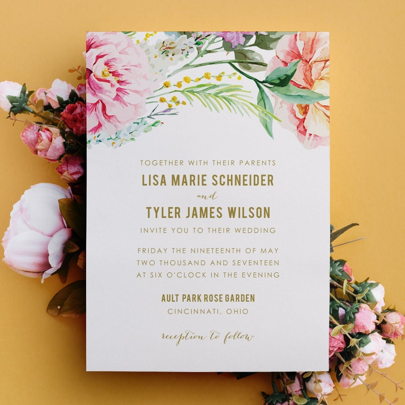 Floral Wedding Invitation Watercolor Flowers Invitation image 0