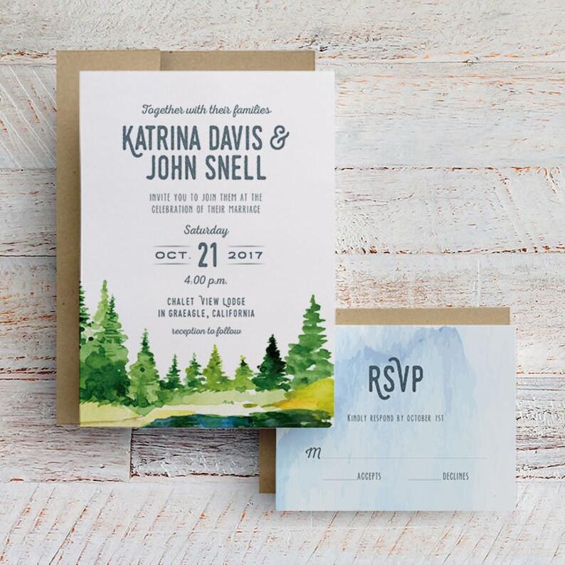 Rustic Wedding Invitation Watercolor Wedding Invitation image 0
