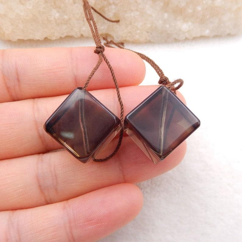 stone for Earrings making,14mm,14.8g-C775 Nugget Smoky Quartz cube earrings Earrings Pair