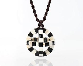 New,Handmade Spherical Howlite And Obsidian Intarsia Pendant, Sphere Pendant Necklace,Dainty Spherical Charm, 26mm, 6.7g B2972