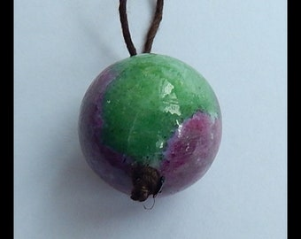 New!! Ruby and Zoisite Gemstone Pendant Bead ,Sphere Pendant, 18mm,11.1g(z0123)