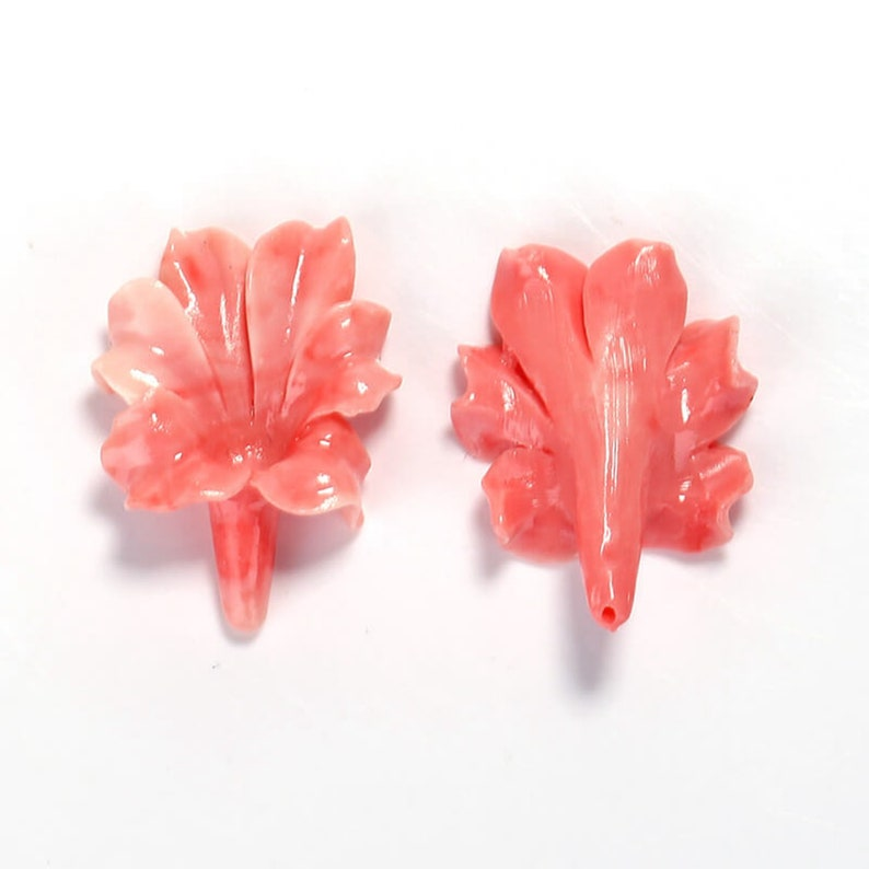 H7124 5.2g Pink Conch Shell Carved Flowers Earrings,33x25x9mm