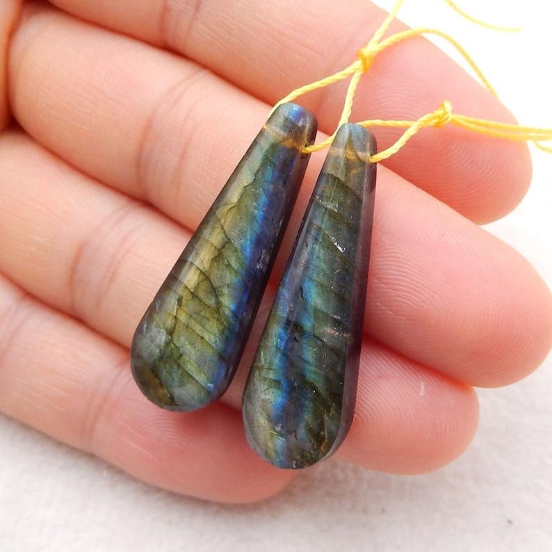 5.2g-C770 Labradorite,Obsidian Intarsia Gemstone Earrings,32x10x6mm