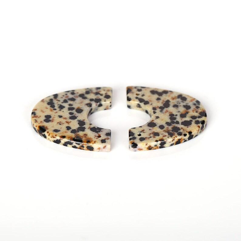 Carving Gemstone Earrings 26x23x3mm New design Dalmatian Jasper Gemstone Earrings Bead 6.4g B1850