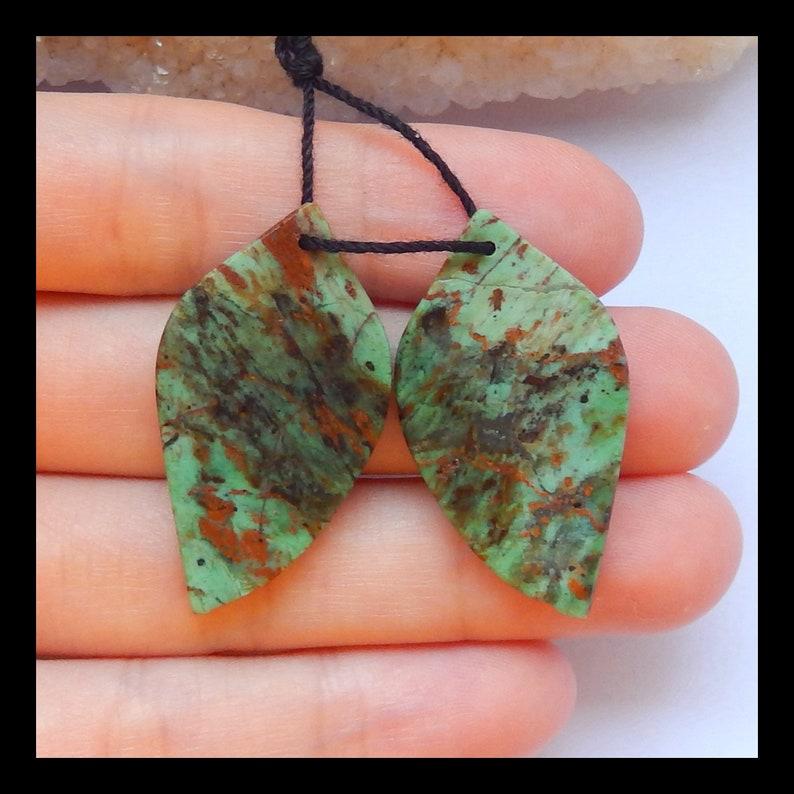 x0396 33x18x4mm,5.7g Green Opal Leaf Earrings