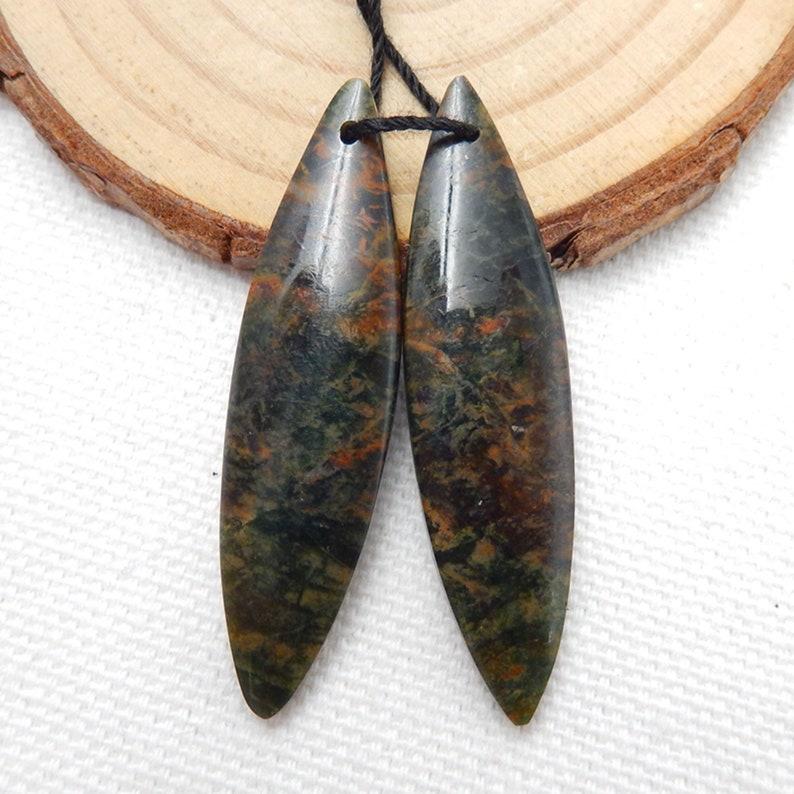 5.9g H8653 42x11x4mm Green Opal Earrings