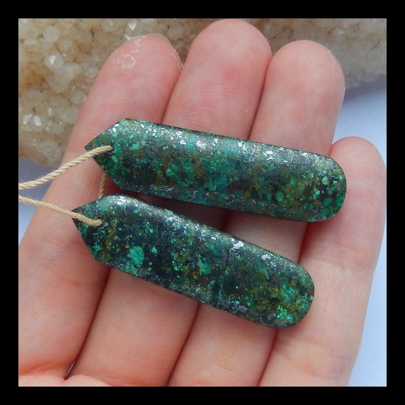 n0306 African Turquoise Gemstone Earrings,Natural Stone Jewelry,41x11x5mm,40x12x5mm,9.8g