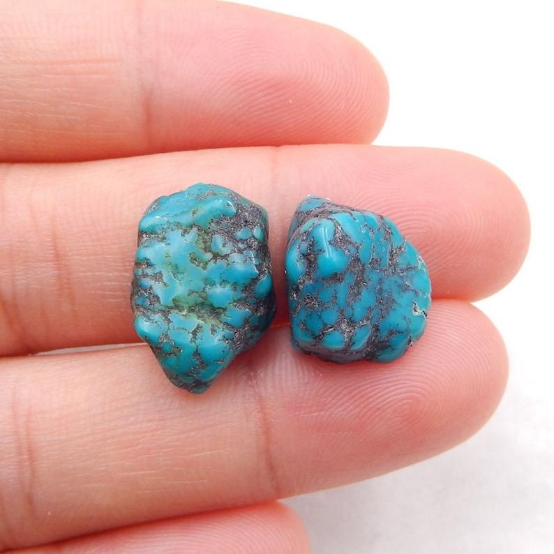 Nugget Turquoise Flatback Gemstone Cabochon Pair 3.1g-h4666 16x11x6mm