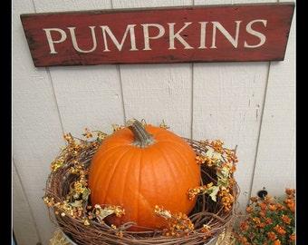 SALE- Pumpkins sign primitive pumpkin sign fall decor
