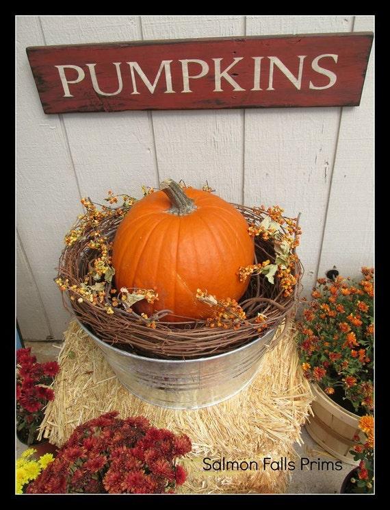 Sale Pumpkins Sign Primitive Pumpkin Sign Fall Decor