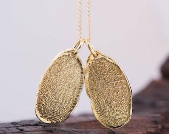 Natural Fingerprint shaped Gold Fingerprints Charms.