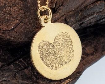 Fingerprints on Circle Gold Pendant 2cm
