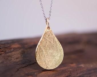 Fingerprint Teardrop Gold Pendant
