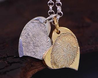 Silver & Gold Hearts Fingerprints Charms.
