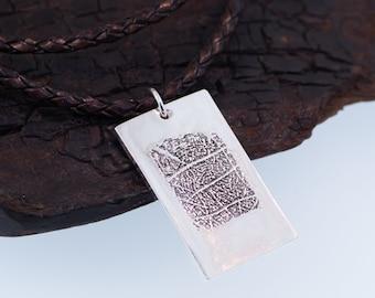 Rectangle Fingerprint Silver Pendant