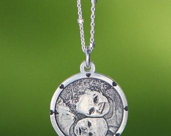 Custom Engraved Circular Photo Charm with Hearts