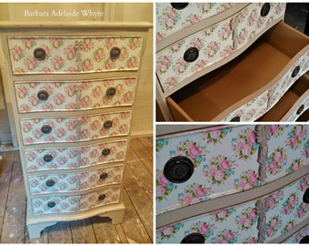 SOLD SOLD -- Annie Sloan chalk paint chest of drawers floral roses