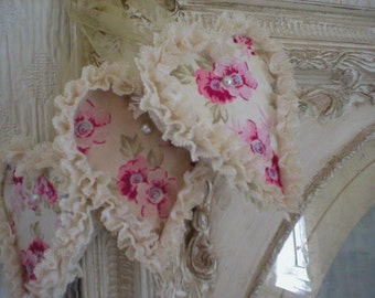 SOLD SOLD SOLD *** Three Chunky Shabby Romantic Wooden Wedding Door Cabinet Wardrobe Bed Hanger Hearts Plaques