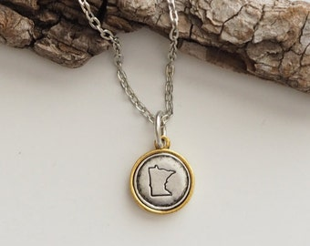 Minnesota, Stamped Minnesota Necklace, Minnesota Jewelry, State Jewelry, Minnesota Charm, MN, Minnesota Necklace