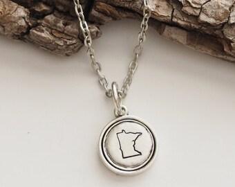 Minnesota, Stamped Minnesota Necklace, Minnesota Jewelry, State Jewelry, Minnesota Charm, MN
