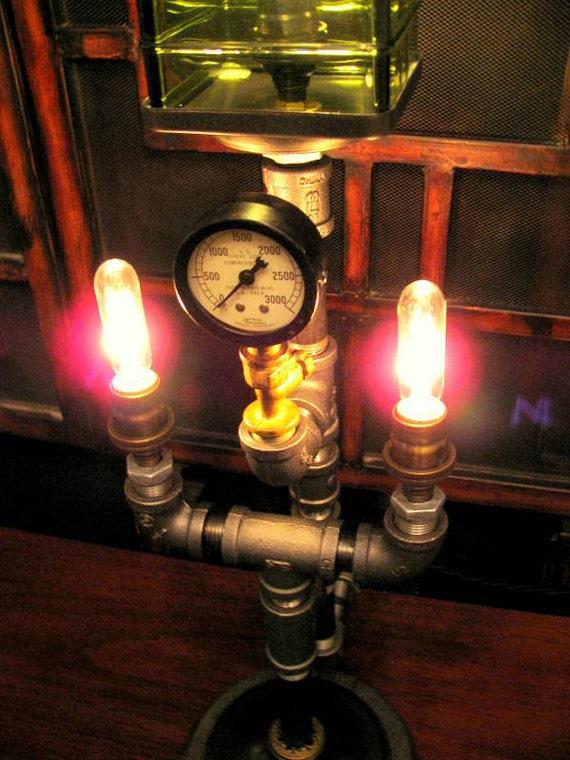 Sailor Steampunk style nautical Brass Green Lamp Charm pendant