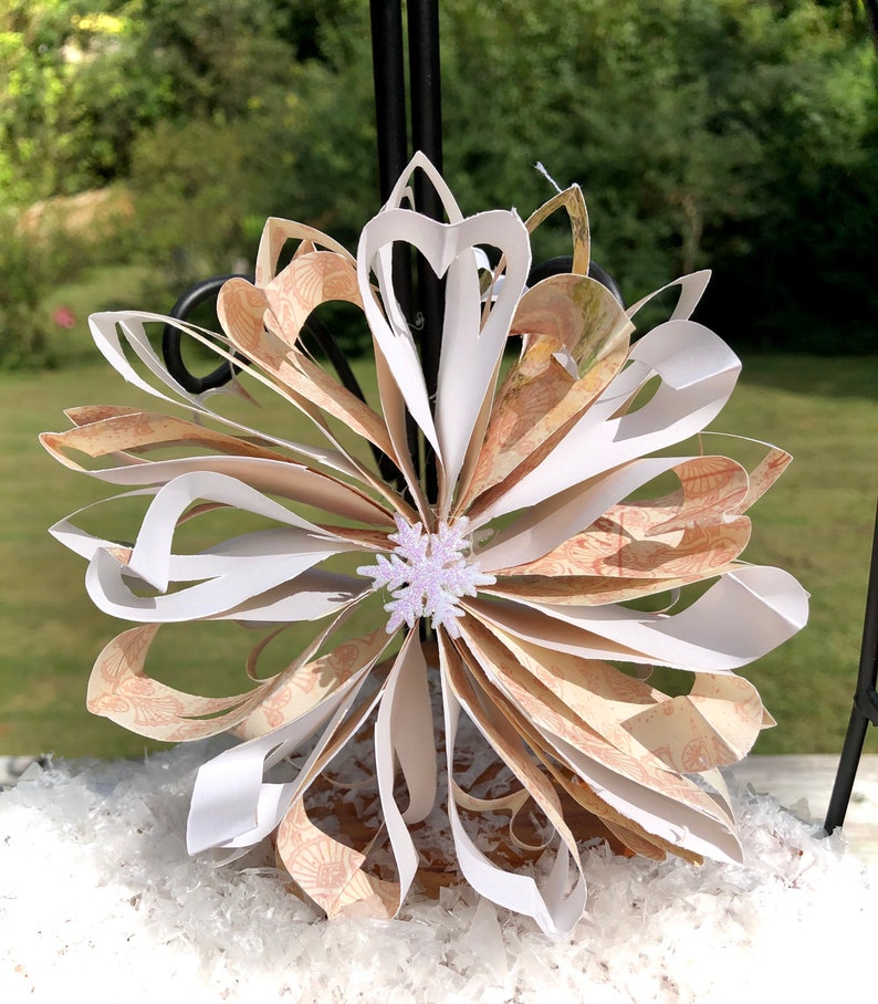 Beige and white paper christmas snowflake ornament
