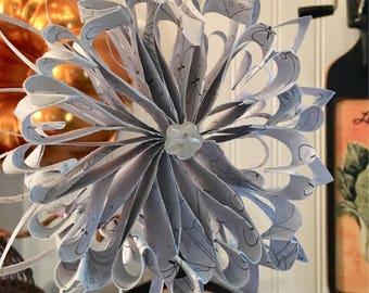 Light grey paper christmas snowflake ornament