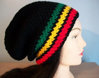 13708b5ac684ee Rasta Hat Stocking Cap Slouchy Crocheted