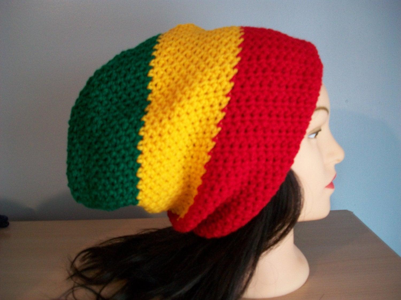 Rasta Hat Slouchy Stocking Cap Crocheted Etsy