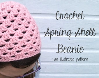 Instant Download - PATTERN for Crochet Spring Shell Beanie Hat, Illustrated Step by Step Instructions