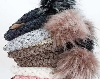 Faux Fur Pom Puff Beanie Hat   Adult Sizes   Ready to Ship   Pick Your Own Colors   Modern Puffy Textured Puff Stitch Slouchy Young Teen
