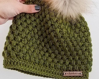 Olive Green Crochet Puff Stitch Beanie   One Size Fits Most Adults   Made to Order   Textured Slouchy Women's Fall Autumn Winter Trendy Hat