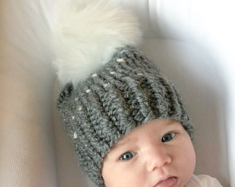 Baby Chunky Knit Fair Isle Beanie Slouchy Hat Grey with White Polka Dots   Made to Order   Baby Toddler Size   OPTIONAL Faux Fur Pom Snap on