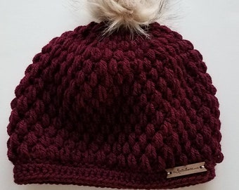 Burgundy Crochet Puff Stitch Beanie Hat   One Size Fits Most Adults   Made to Order   Textured Slouchy Women's Fall Autumn Winter