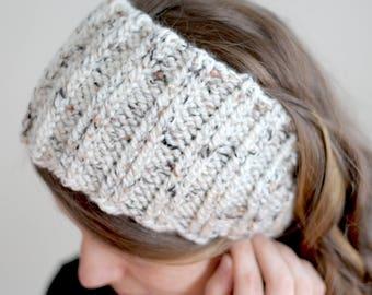 Chunky Knit Ear Warmer Headband Button Closure One Size Child's Teen Women's Fall Autumn Winter Accessory Homestead Hiking Runner Ear Muffs