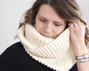 Double Wrap Chunky Knit Cowl Winter Fall Autumn Oversized Scarf Layers Made to Order warm wool blend washable homestead accessories