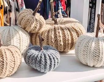 Knit Pumpkins with Natural Stick Stems   Small Home Fall Autumn Halloween Thanksgiving Harvest Decor Golden Orange Natural Jute