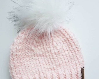 Adult Size Blush Pink Chunky Knit Beanie Slouchy Hat   Made to Order   OPTIONAL Faux Fur Pom Snap on   Mommy and Me   Gift under 30