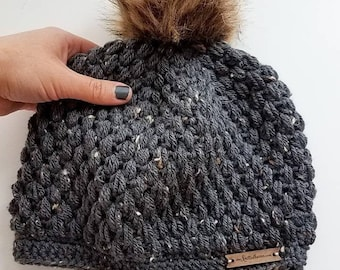Graphite Crochet Puff Stitch Beanie Hat   One Size Fits Most Adults   Made to Order   Textured Slouchy Women's Fall Autumn Winter