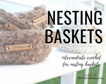 Instant Download - PATTERN for Chunky Crochet Nesting Baskets Bowls: illustrated tutorial seamless beginner crochet in the round PDF