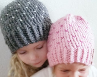 Toddler Chunky Knit Fair Isle Beanie   Slouchy Hat Charcoal Grey with White Polka Dots   Made to Order   OPTIONAL Faux Fur Pom Snap on